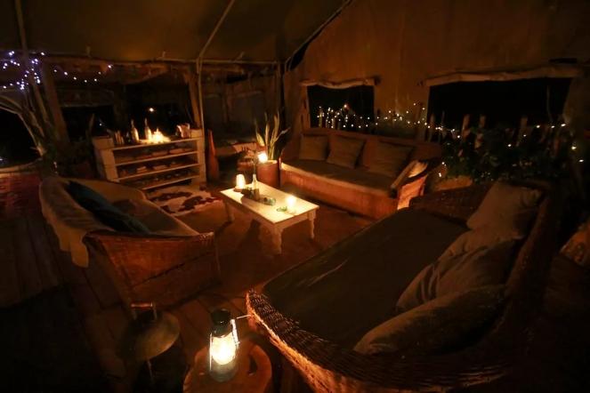 Mess tent at night